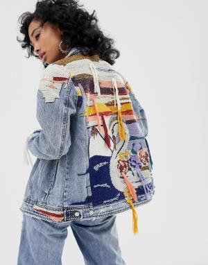 Джинсовая куртка с вышивкой Blank NYC. Цвет: синий