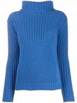 Кашемировый джемпер с контрастными вставками Liska. Цвет: синий