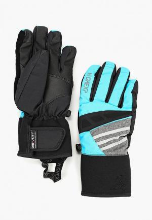 Перчатки горнолыжные High Experience. Цвет: бирюзовый