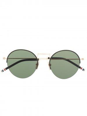 Солнцезащитные очки в круглой оправе Thom Browne Eyewear. Цвет: золотистый