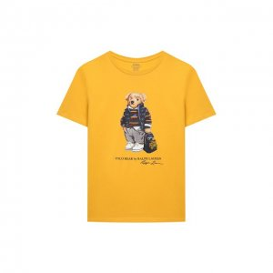 Хлопковая футболка Polo Ralph Lauren. Цвет: жёлтый