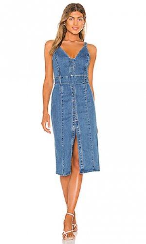 Платье миди coco Finders Keepers. Цвет: средний деним