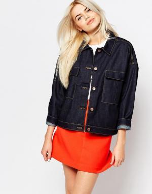 Джинсовая куртка с накладным карманом Monki. Цвет: синий