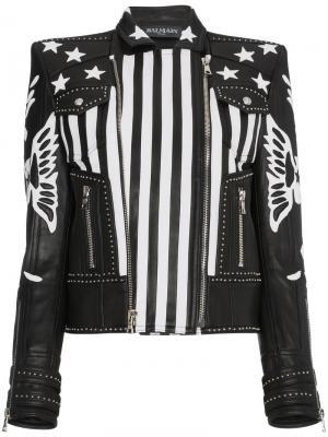 Кожаная куртка с полосками и звездами Balmain. Цвет: чёрный