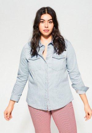 Рубашка джинсовая Violeta by Mango - DOLCE. Цвет: голубой
