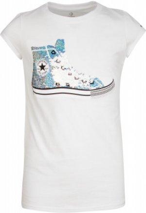 Футболка для девочек , размер 164 Converse. Цвет: белый