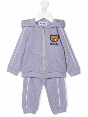 Patch-detail two-piece tracksuit set Moschino Kids. Цвет: серый
