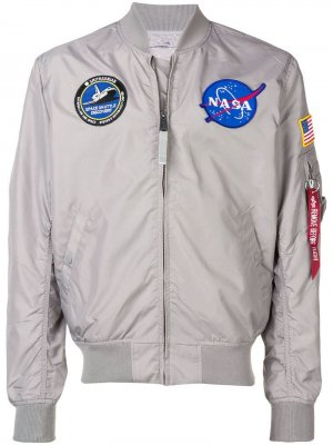 Куртка-бомбер в стиле пэчворк Alpha Industries. Цвет: серый