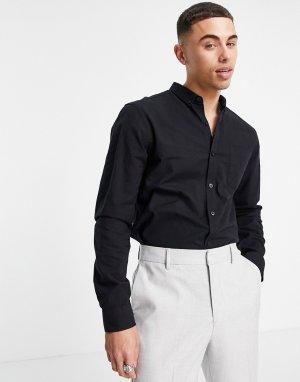 Черная оксфордская рубашка из органического хлопка с длинными рукавами -Черный цвет New Look