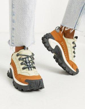 Бежевые кроссовки на массивной подошве CAT Intruder-Бежевый Footwear