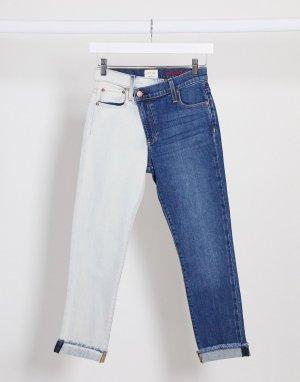 Двухцветные джинсы бойфренда Jeans-Синий Alice & Olivia