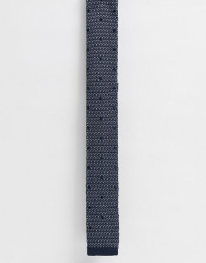 Серо-синий трикотажный галстук -Темно-синий Selected Homme