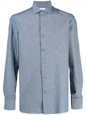 Рубашка из ткани шамбре Boglioli. Цвет: синий