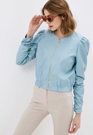 Куртка кожаная Rinascimento. Цвет: бирюзовый