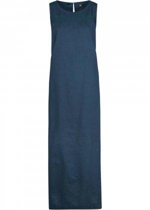 Платье льняное без рукавов bonprix. Цвет: синий