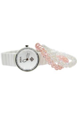 Набор: часы, браслет BORA. Цвет: белый, розовый