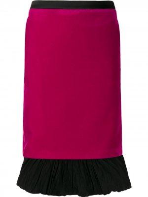 Бархатная юбка Karl x Carine Lagerfeld. Цвет: розовый