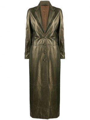 Длинное пальто 1990-х годов Romeo Gigli Pre-Owned. Цвет: зеленый