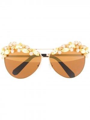 Декорированные солнцезащитные очки-авиаторы Sunshine Philipp Plein. Цвет: золотистый