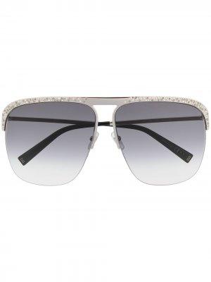 Солнцезащитные очки-авиаторы с кристаллами Givenchy Eyewear. Цвет: серебристый