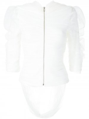 Блузка из тюля с драпировкой Gloria Coelho. Цвет: белый