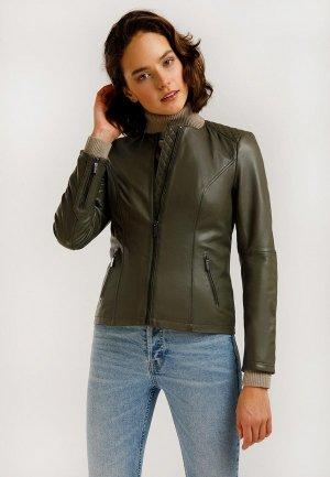 Куртка кожаная Finn Flare. Цвет: хаки