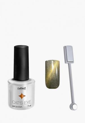 Набор для ухода за ногтями Runail Professional магнит и Гель-лак Cat's eye золотистый блик, цвет: Сияющая кошка. Цвет: золотой