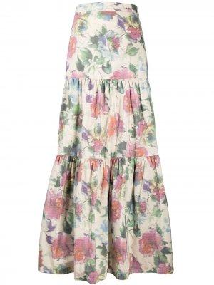 Ярусная юбка макси с цветочным принтом Pinko. Цвет: нейтральные цвета