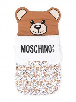 Спальный конверт Teddy с логотипом Moschino Kids. Цвет: белый