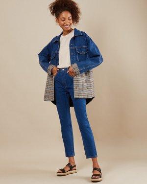 Двухфактурная джинсовая куртка 12STOREEZ. Цвет: синий