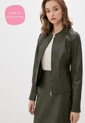 Куртка кожаная VASSA&Co. PIN CODE. Цвет: хаки