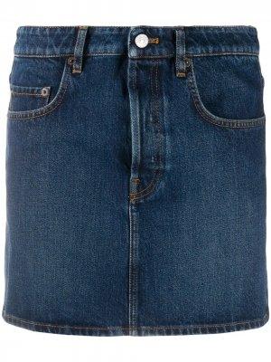Джинсовая юбка прямого кроя Balenciaga. Цвет: синий