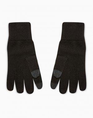 Перчатки черного цвета с белыми вкраплениями для сенсорных экранов -Черный цвет Topman