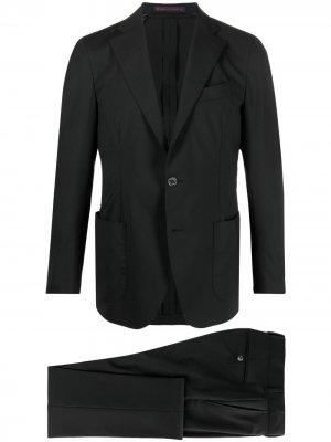 Костюм-двойка с однобортным пиджаком Bagnoli Sartoria Napoli. Цвет: черный