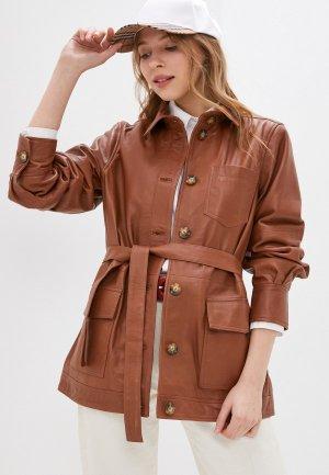 Куртка кожаная Part Two. Цвет: коричневый