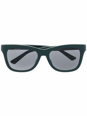 Солнцезащитные очки в прямоугольной оправе Balenciaga Eyewear. Цвет: зеленый