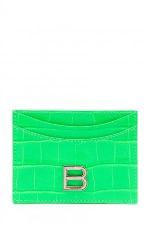Зеленый кожаный картхолдер Hourglass Balenciaga. Цвет: зеленый
