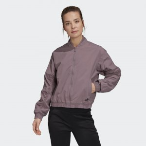 Куртка-бомбер Woven Athletics adidas. Цвет: фиолетовый