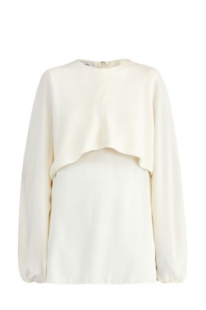 Шелковая блуза из жоржета с объемными рукавами и кейпом VALENTINO. Цвет: бежевый