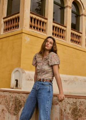 Кожаный ремень с квадратной пряжкой - Bell Mango. Цвет: коричневый