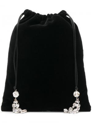 Декорированный клатч на шнурке Ca&Lou. Цвет: черный