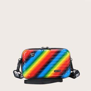 Мужская радужная сумка через плечо в форме чемодана SHEIN. Цвет: многоцветный