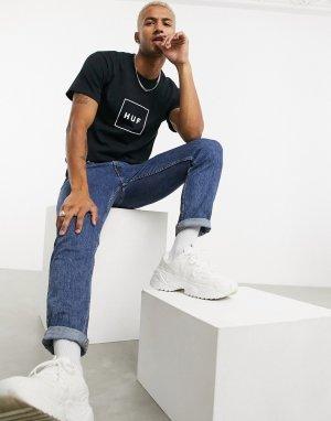 Черная футболка с логотипом Essentials-Черный цвет HUF