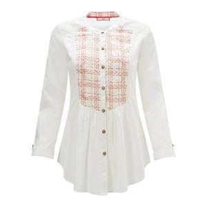 Рубашка с вышивкой и круглым вырезом, длинными рукавами JOE BROWNS. Цвет: белый