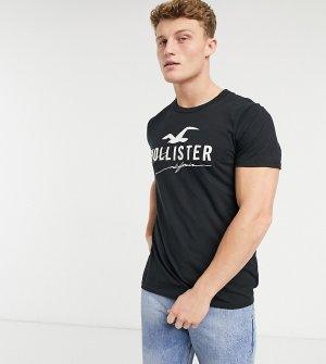 Черная футболка с большим логотипом спереди -Черный Hollister