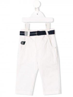 Прямые брюки с ремнем Lapin House. Цвет: белый