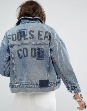 Джинсовая куртка с асимметричным краем One Teaspoon. Цвет: синий