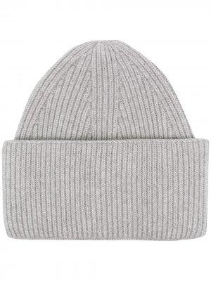 Объемная кашемировая шапка бини Laneus. Цвет: серый