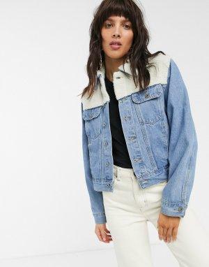 Синяя джинсовая куртка со вставкой из искусственного меха -Синий FAE