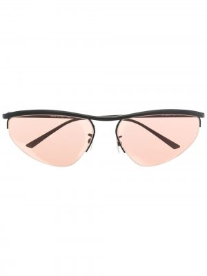 Солнцезащитные очки в овальной оправе Bottega Veneta Eyewear. Цвет: черный